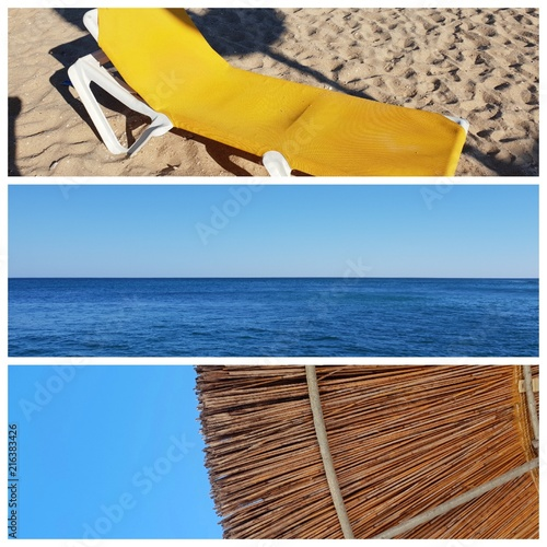 A collage of beautiful summer photos in Lagos, Portugal. Summer concept