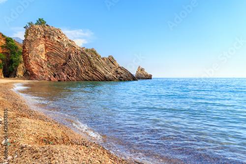Aluminium Blauw Adriatic sea coastline near Budva city in Montenegro, gorgeous seascape with big rock on the beach