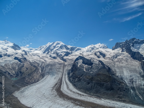 Foto Murales The famous Gorner Glacier, second largest glacier in the Alps