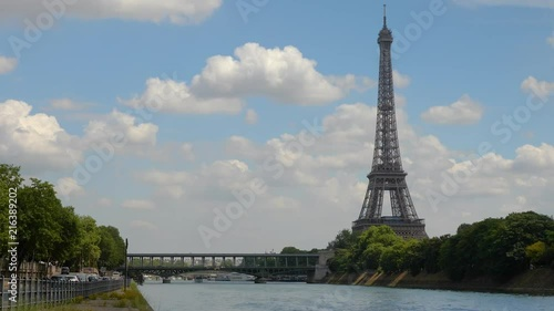 Timelapse of the Eiffel Tower in Paris from the Seine.