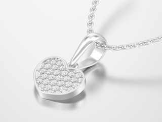 3D illustration jewelry white gold or silver diamond heart necklace on chain