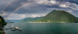 full rainbow over Lake Como from Argegno