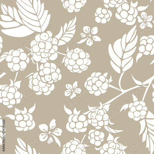Vector seamless pattern with silhouette of berry and flower. - 216396682