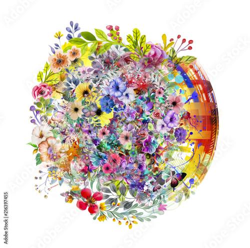 Canvas Reznik абстрактный волшебный красочный фон брызг