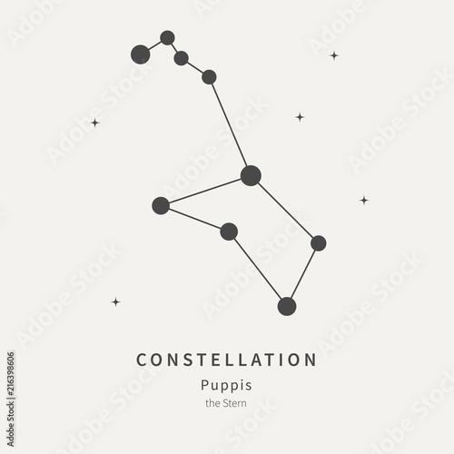 The Constellation Of Puppis. The Stern - linear icon. Vector illustration of the concept of astronomy.