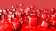 red three-dimensional cubes. abstract background. 3D rendering