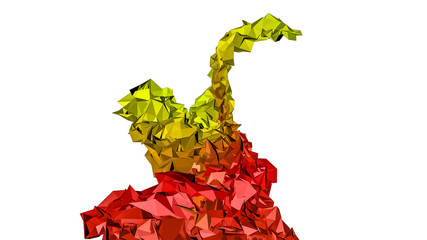 red orange abstract figure. low-poly model. 3D rendering © toomler