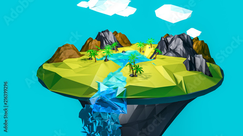 Foto Spatwand Turkoois low poly desert landscape. an oasis in the air. 3D rendering