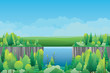 Waterfall cliff with mountains landscape. Vector nature background - 216401243