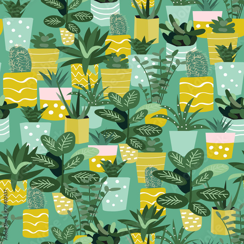 potted house plants print. bright botanical floral seamless pattern. vector flower print. floral background. textile fabric design. trendy graphic design. memphis style.  - 216402637
