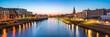 Leinwanddruck Bild - Bremen skyline Panorama bei Nacht mit Blick über die Weser