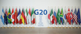 G20 summit or meeting concept. Row from flags of members of G20  Group of Twenty and list of countries, - 216406677