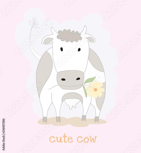 Śliczna krowy kreskówka z kwiatem. Ręcznie rysowane stylu