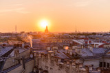 View from the roofs to St. Petersburg, the sights of the city from a height - 216417695