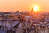 View from the roofs to St. Petersburg, the sights of the city from a height - 216417860