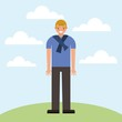 cute boy smiling in the park outdoor clouds vector illustration