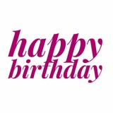 happy birthday slogan text in calligraphy style. typographic quote for birthday greeting card gift.