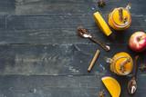 Hot pumpkin sangria with apple, cinnamon and star anise - 216431426