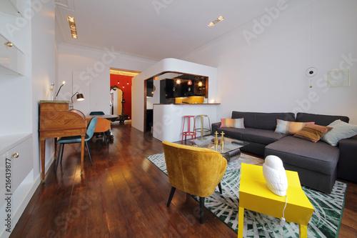 appartement rénové design avec cuisine américaine
