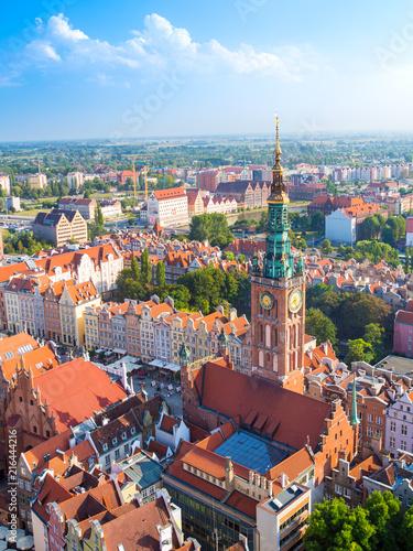 Stare Miasto w Gdańsku, widok z lotu ptaka z wieży katedry, Polska