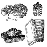 Set of traditional France desserts. Croissants, profiterole, macaroons and eclair. Sketch Engraving style. Vector illustration. - 216446264