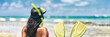 Leinwanddruck Bild - Snorkel girl with scuba mask and snorkeling fins relaxing on Caribbean beach travel summer vacation panoramic banner. Ocean watersport tropical fun.