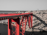 Black and white with only red Maslenica bridge having red colour, Zadar county, Croatia