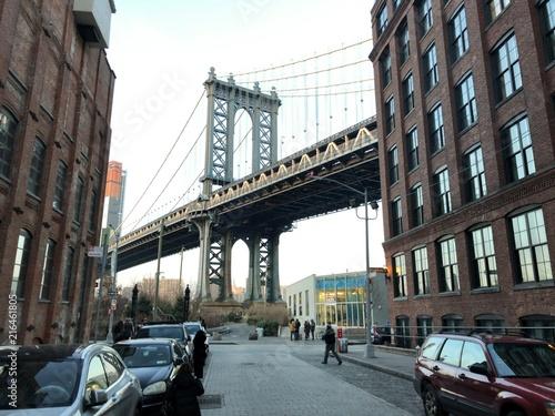 Foto Spatwand Zwart アメリカ ニューヨーク ブルックリンブリッジ