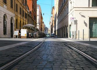 Rome,Italy-July 29,2018: Tram near Roma Termini station  © Khun Ta