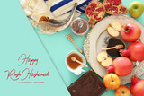 Rosh hashanah (jewish New Year holiday) concept. Traditional symbols. - 216472238