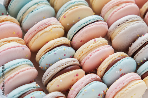 Foto Spatwand Macarons Homemade colorful pastel macaroons