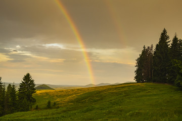 Beautiful rainbow after the rain at the edge of a forest. Double rainbow after the rain.