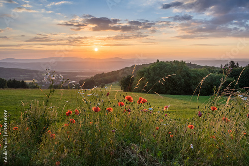 Canvas Zonsopgang Schöner Sonnenaufgang in der Rhön