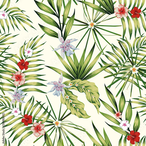 Exotic plants composition nature illustration seamless
