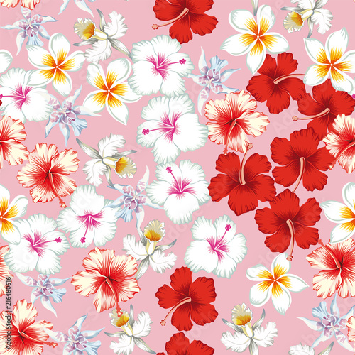 Tropical flowers pattern seamless pink background