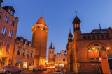 Market Hall, St Catherine Church and St Hyacinth Tower in Gdansk at night