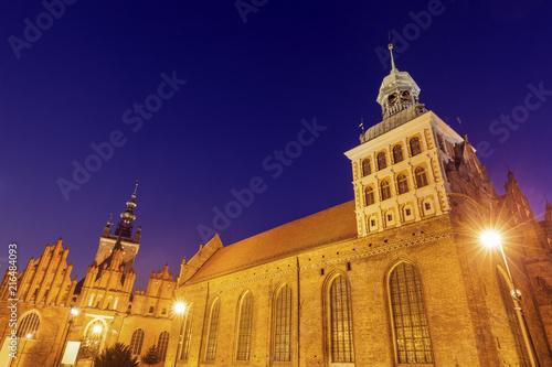 St. Birgitta's Church in Gdansk at night