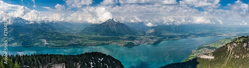 Foto Spatwand Groen blauw Alps panorama from Niederhorn