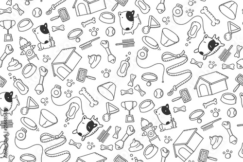 obraz PCV Seamless pattern background Dog and equipment kids hand drawing set illustration black color isolated on white background