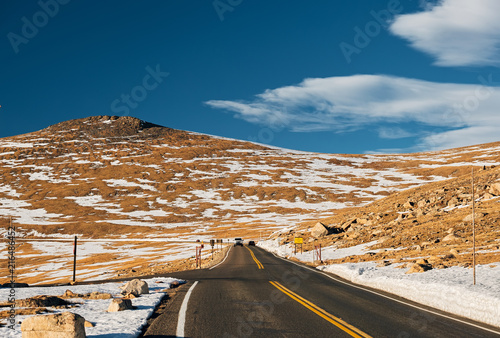 Highway in alpine tundra. Rocky Mountain National Park in Colorado.