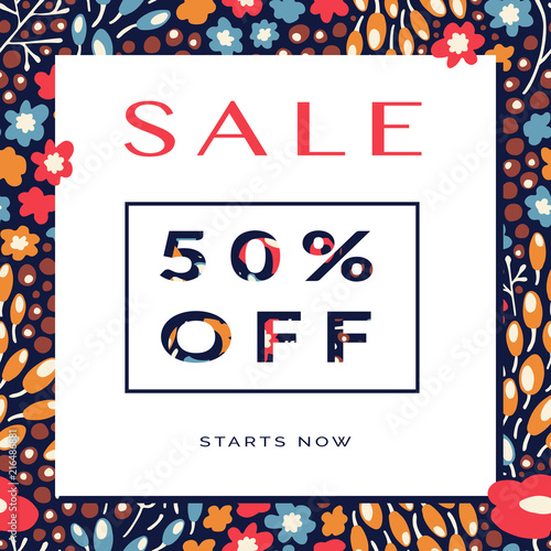 Banner Autumn Sale with paper cut elements. Flowers and berry seamless pattern on background. For poster, card, placard, label design - 216486881