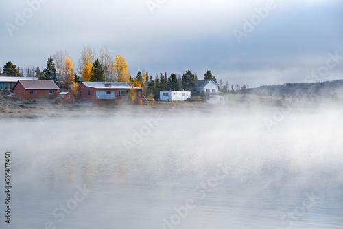 Foggy misty autumn landscape in Colorado, USA