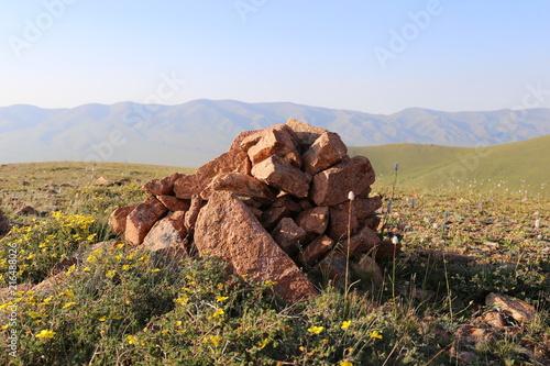 Foto Spatwand Blauwe hemel Tian Shan Gebirge
