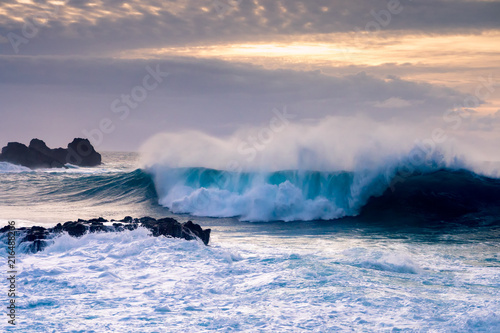 Fotobehang Canarische Eilanden Breaking wave on Tenerife coast, Canary Islands, Spain