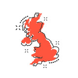 Vector cartoon United Kingdom map icon in comic style. United Kingdom sign illustration pictogram. Cartography map business splash effect concept. - 216491023