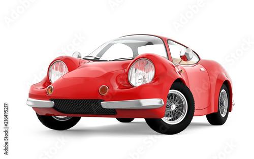Fotobehang Auto retro sport car cartoon 3d