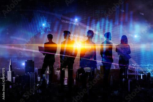 Leinwandbild Motiv Teamwork, finance and success concept