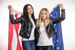 Leinwandbild Motiv pleasant young female football, hockey fance with a flag. women are fond of America. sweet home concept
