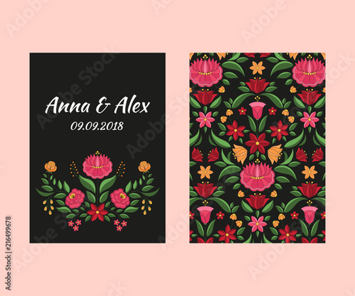6802d9428f73 Autumn wedding save the date card template vector. Hungarian folk pattern.  Kalocsa embroidery floral