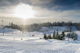 picturesque winter landscape in a ski resort in Russia - 216505659